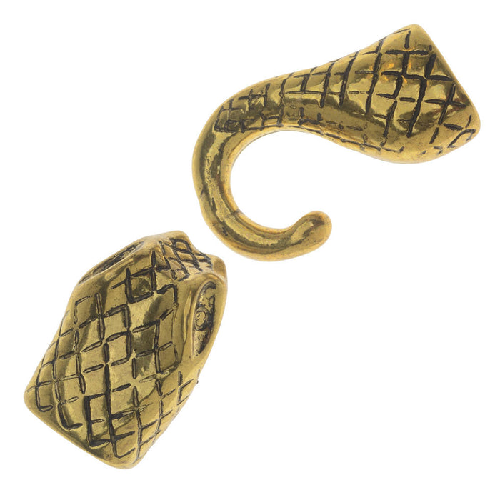 Snake Head And Tail Clasp End Gold Plated