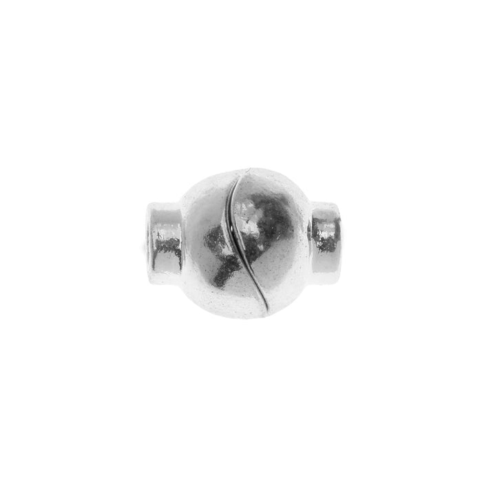 Magnetic Clasp, Sphere Shape fits 4mm Cord 15x12mm, 2 Sets, Silver Tone