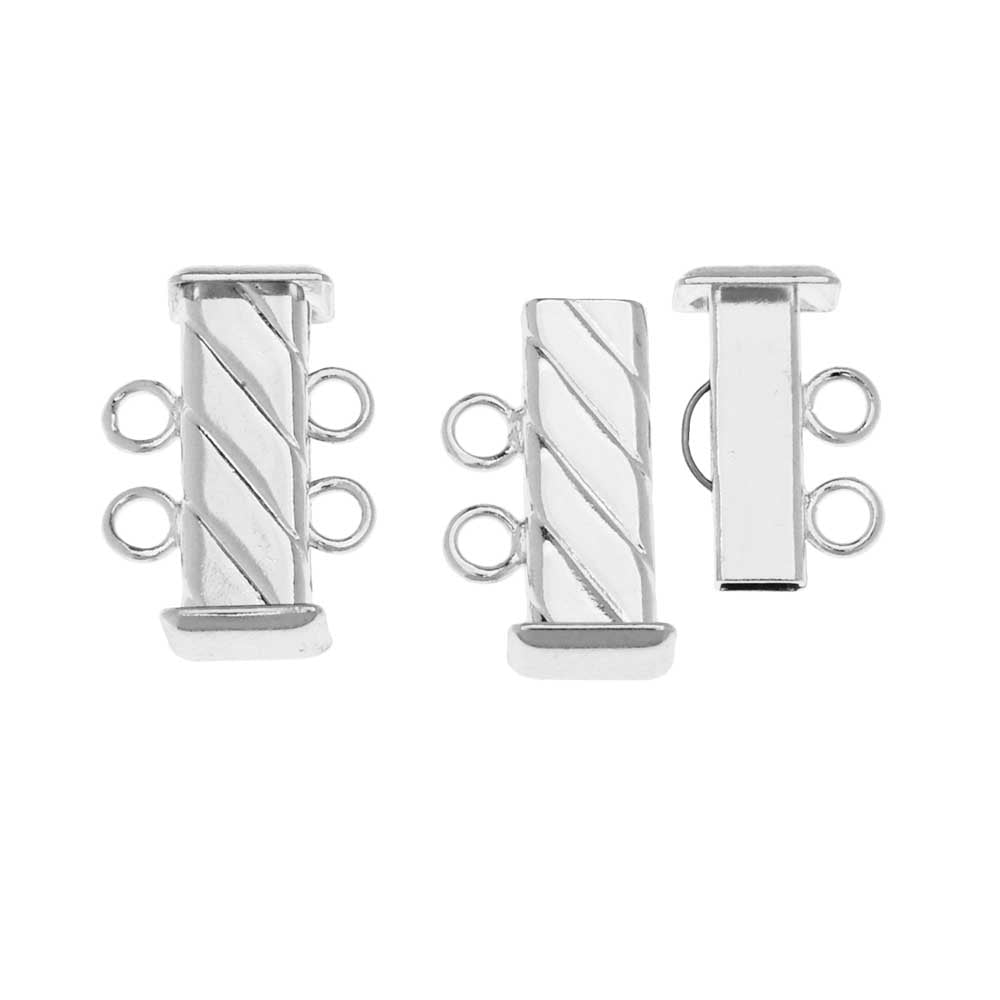 Slide Tube Clasps 2-Strand Fluted Rectangle 16.5mm Long, 2 Sets, Silver Plated