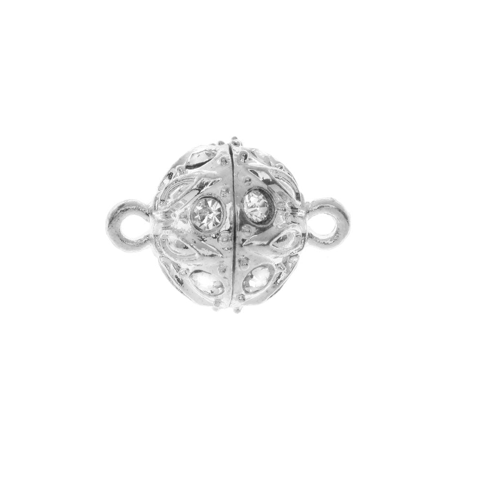 Magnetic Clasp, Sphere with Drop Pattern and Rhinestones 18x12.5mm, 1 Set, Platinum Tone