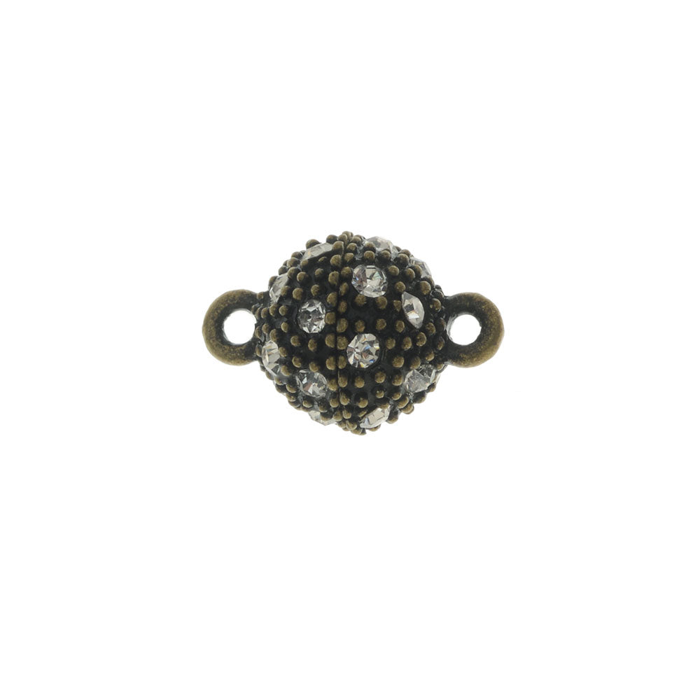 Magnetic Clasp, Beaded Sphere with Rhinestones 16x10mm, 1 Set, Antiqued Bronze Tone