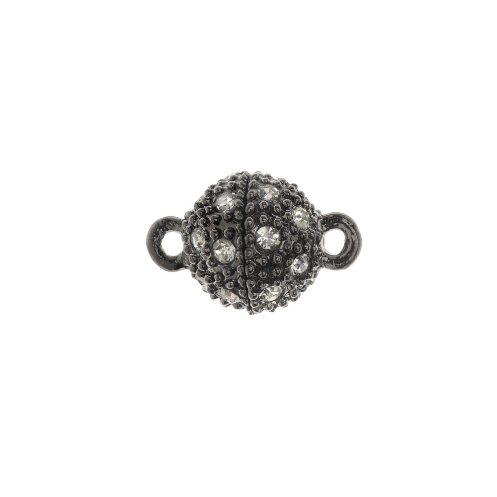 Magnetic Clasp, Beaded Sphere with Rhinestones 16x10mm, 1 Set, Black Tone