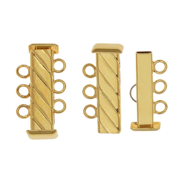 Slide Tube Clasps 3-Strand Fluted Rectangle 21mm Long, 2 Sets, Gold Plated