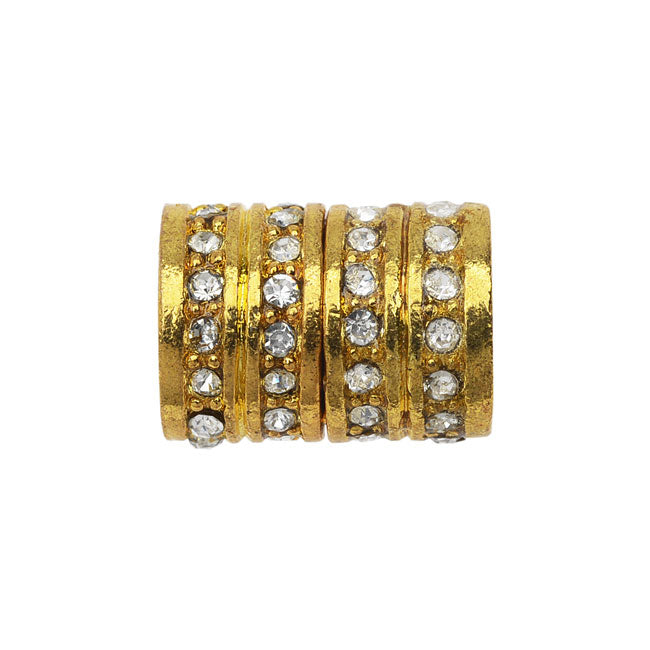 Magnetic Tube Clasp, 10.5x14mm Glass Crystal Encrusted Fits 6.5mm Cord, 1 Set, Gold Tone and Crystal