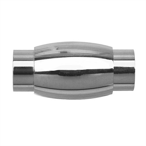 Magnetic Barrel Clasp, Oval 10x20mm Fits 6mm Cord , 1 Set, Silver Tone