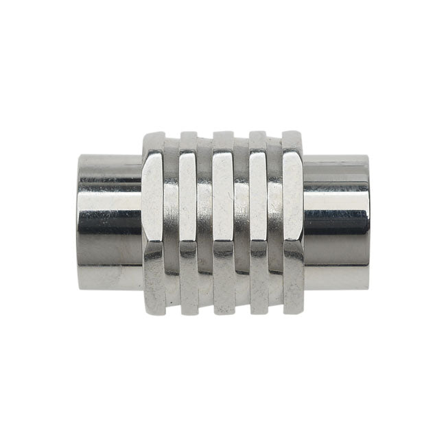 Magnetic Barrel Clasp, Hexagon 12x20mm Fits Cord Up To 8.1mm, 1 Set, Silver Tone