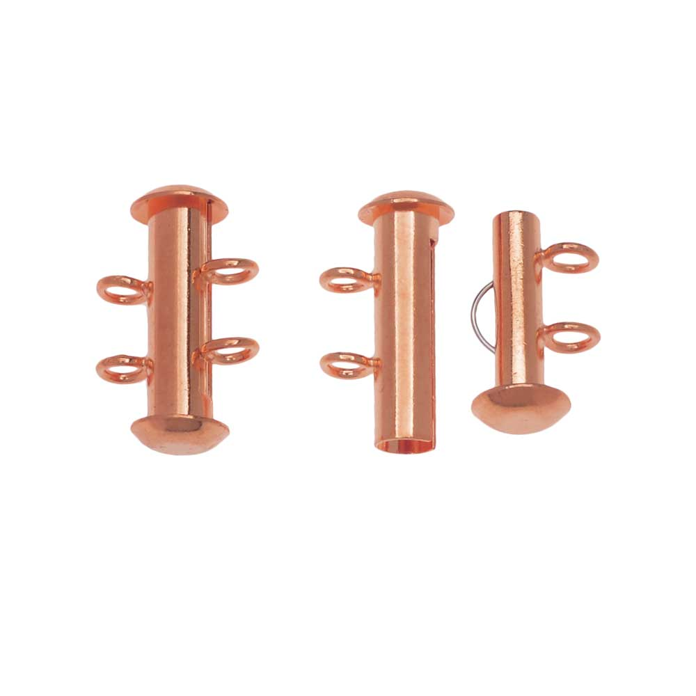 Slide Tube Clasps 2-Strand with Vertical Loops 16.5 x 4mm, 4 Sets, Copper Plated