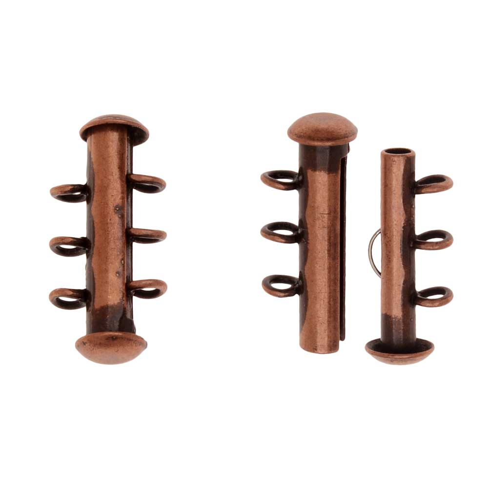 Slide Tube Clasps, 3-Strand with Vertical Loops 21.5 x 4mm, 2 Sets, Antiqued Copper Plated