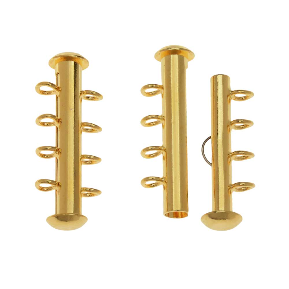 Slide Tube Clasps, 4-Strand with Vertical Loops 26 x 4mm, 2 Sets, Gold Plated
