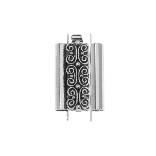 Elegant Elements Beadslides, Seed Bead Slide Tube Clasp w/ Squiggle 18x10mm, 1 Set, Antiqued Silver