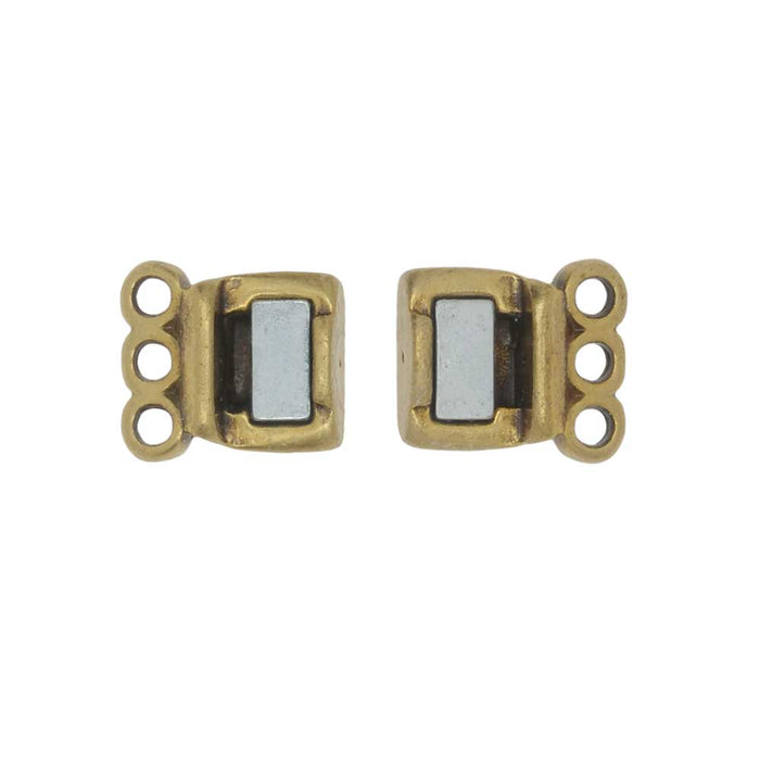 Magnetic Clasp, 3-Strand Rectangle 8x8.5mm, 1 Set, Antiqued Brass