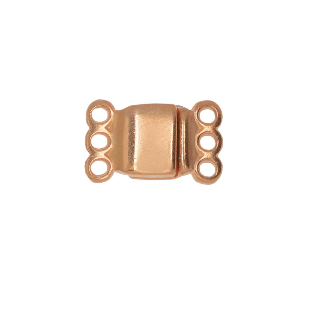 Magnetic Clasp, 3-Strand Rectangle 8x8.5mm, 1 Set, Rose Gold Plated