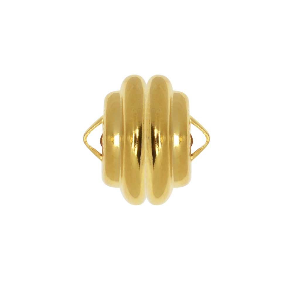 Mag-Lok Magnetic Clasp, Round with Loops 11mm Diameter, 1 Set, Gold Plated