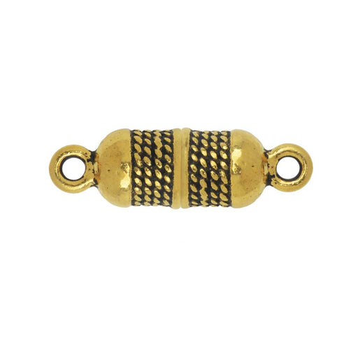 Magnetic Clasp, Roped Capsule 25x7.5mm, Antiqued Gold Plated, 1 Piece, By TierraCast