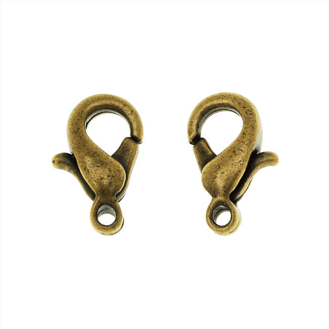 Curved Lobster Clasp, 10x6mm, 20 Pieces, Antiqued Brass