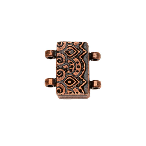 Magnetic Clasp, Temple 2-Strand Rectangle16.5mm, 1 Set, Antiqued Copper Plated, By TierraCast