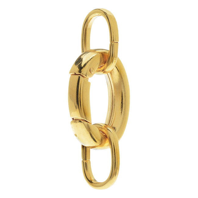 Large Oval Lobster Clasp, with 2 Jump Rings 20x15mm, 1 Set, Gold Plated
