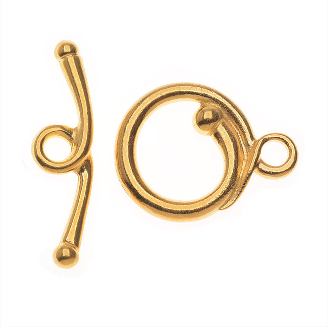 TierraCast Maker's Collection, Renaissance Toggle Clasp Set, 22K Gold Plated