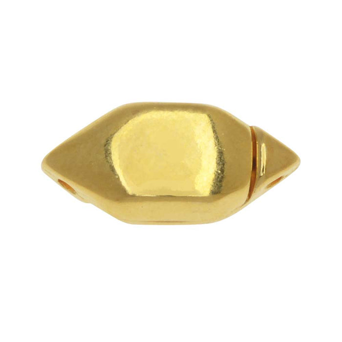 Cymbal Magnetic Clasp for GemDuo Beads, Ralaki, Diamond Shaped 15x6.5mm, 1 Set, 24K Gold Plated