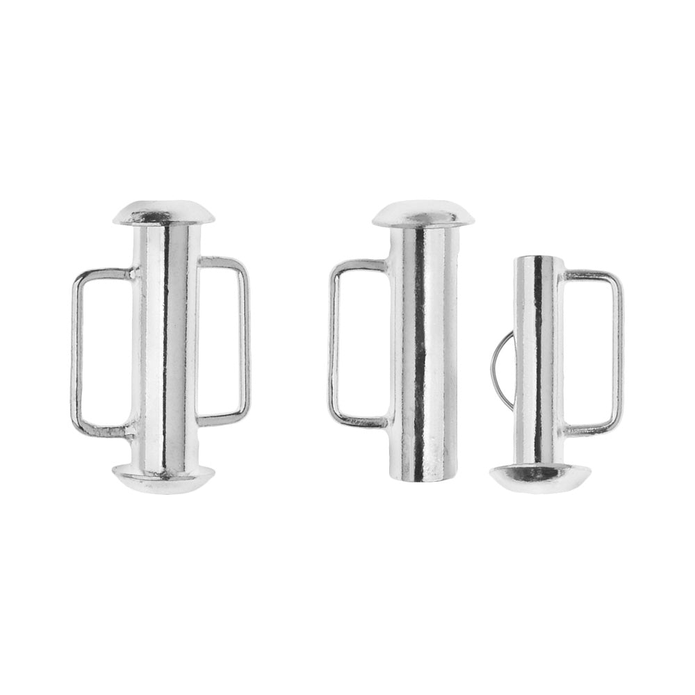 Slide Tube Clasps, with Bar Loops 16.5x10.5mm, 4 Sets, Silver Plated