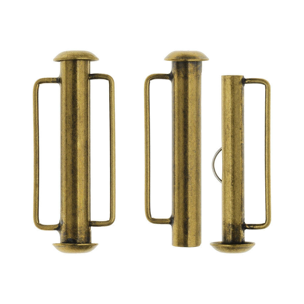 Slide Tube Clasps, with Bar Loops 26.5x10.5mm, 2 Sets, Antiqued Brass Plated