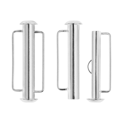 Slide Tube Clasps, with Bar Loops 26.5x10.5mm, 2 Sets, Silver Plated
