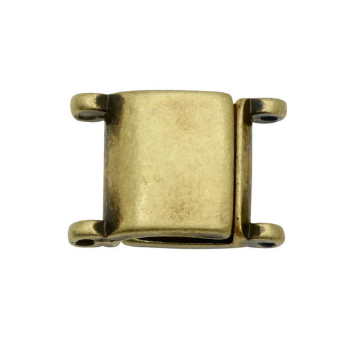 Cymbal Magnetic Clasp for 11/0 Delica & Round Beads, Axos II, Square 13x9.5mm, Ant. Brass Plated