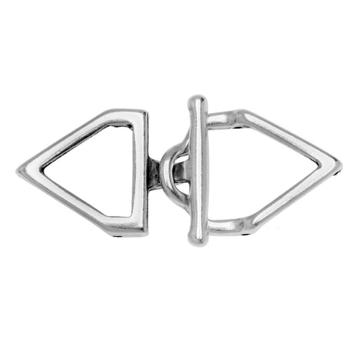 Cymbal Toggle Clasp for 11/0 Delica & Round Beads, Samaria, Triangle 17x36.5mm, 1 Set,  Antiqued Silver Plated