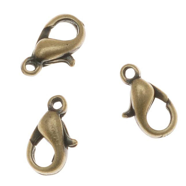 Antiqued Brass Curved Lobster Clasps 10mm (6)