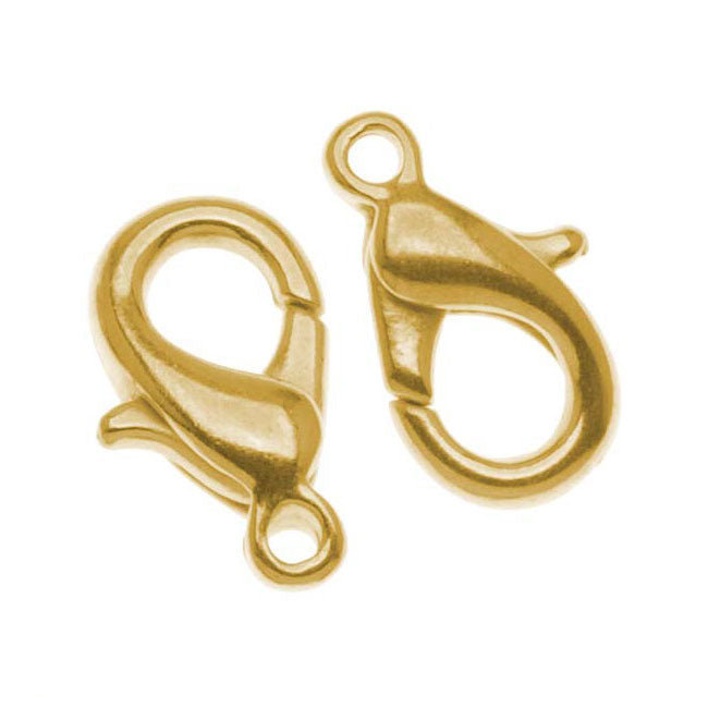 Gold Plated Curved Lobster Clasps 12mm  (10 Pieces)