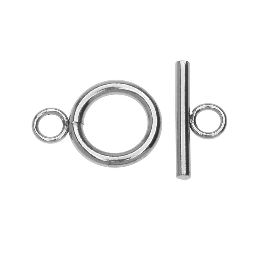 Toggle Clasp, Bar and Round Ring 12mm, 1 Set, Stainless Steel