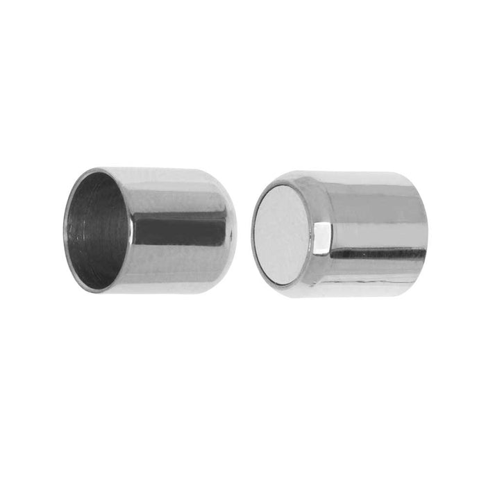 Magnetic Clasp, Tube Shape 19x9mm Fits 8mm Round Cord, 1 Set, Stainless Steel