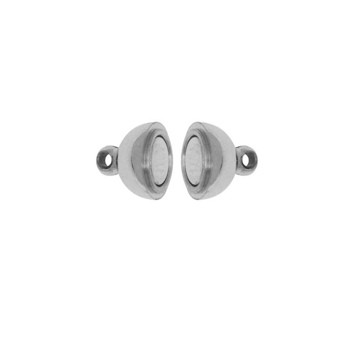 Magnetic Clasp, Round Ball with Loops 8mm Diameter, 1 Set, Stainless Steel