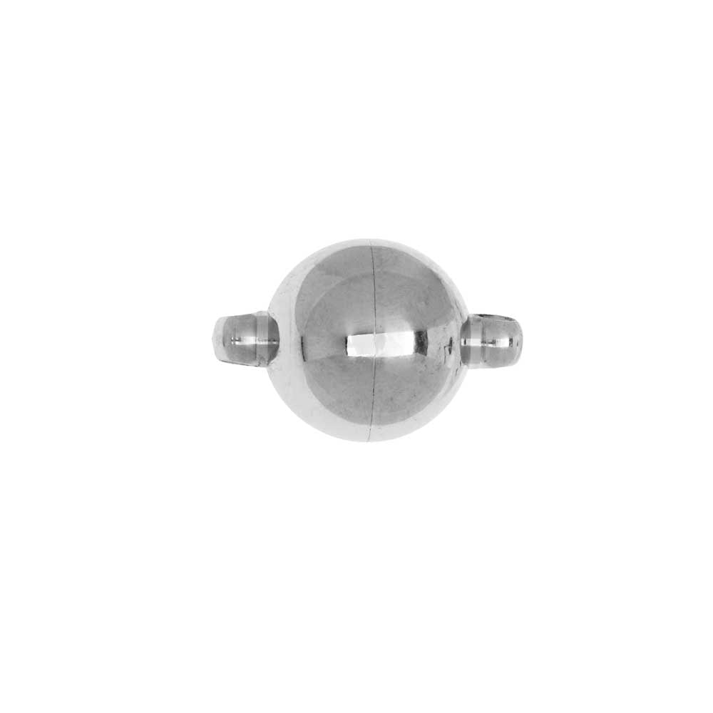 Magnetic Clasp, Round Ball with Loops 10mm Diameter, 1 Set, Stainless Steel