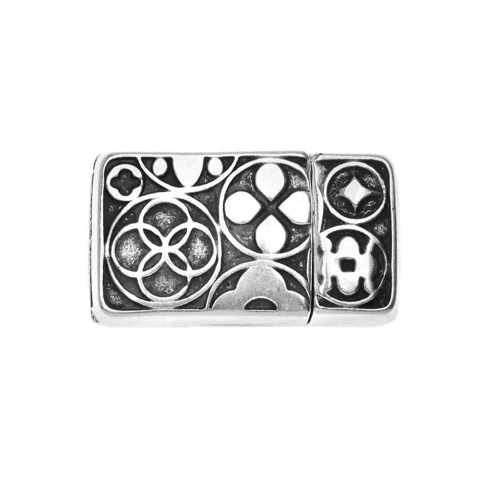 Magnetic Clasp, Rectangle with Celtic Symbols Fits 10mm Flat Cord, 1 Set, Antiqued Silver Plated