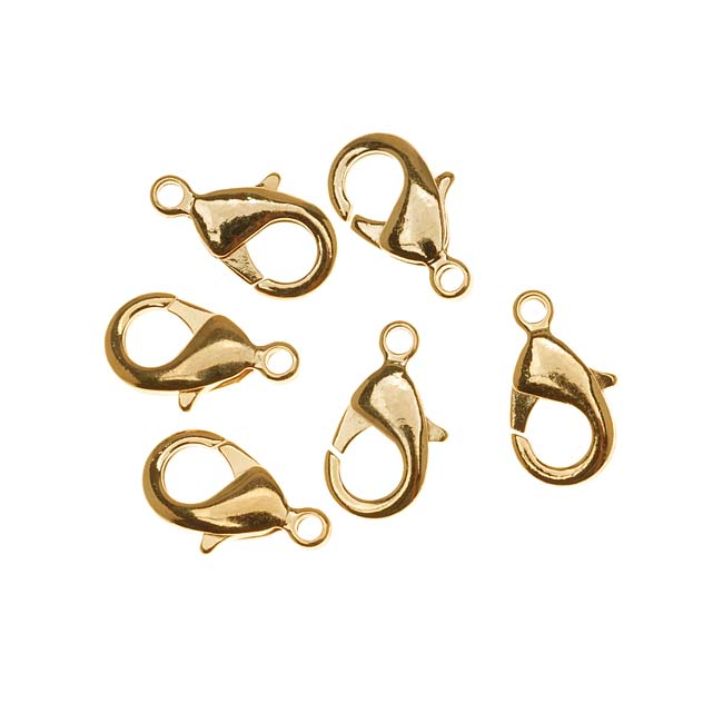 22K Gold Plated Curved Lobster Clasps 15mm (6)