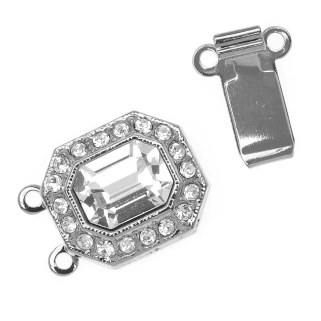 Rhodium Plated 2-Strand Box Clasp With Swarovski Crystals