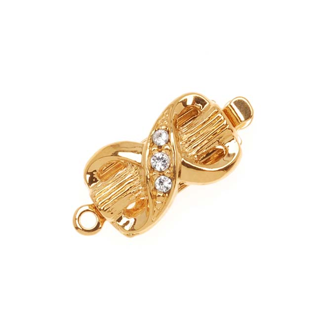 23K Gold Plated Box Clasp - Bow Design With 3 Swarovski Crystals 17x8mm (1)