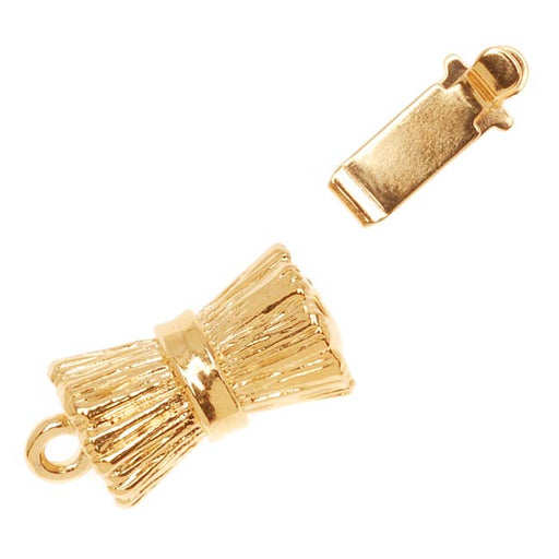 23K Gold Plated 1-Strand Box Clasp - Barrel Design 19x8mm (1)