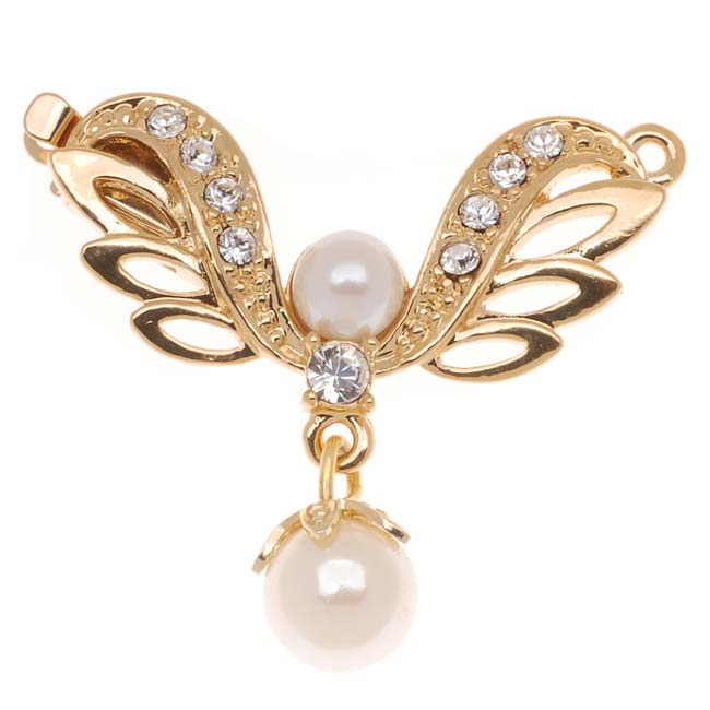 23K Gold Plated 1-Strand Box Clasp - 'Angel's Wings' - 30x26mm (1)