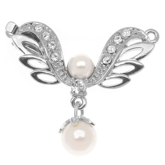Rhodium Plated 1-Strand Box Clasp - 'Angel's Wings' - 30x26mm (1)