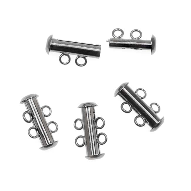 Gun Metal Plated 2 Strand Tube Clasps - 16.5mm (4)