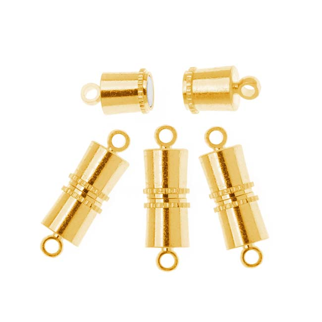 BeadSmith Magnetic Clasp, Barrel Style 11x5mm, 4 Sets, 22K Gold Plated