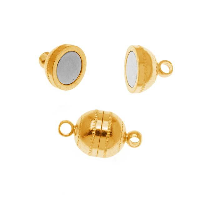 BeadSmith Magnetic Clasp, Round Capsule 9x8mm, 2 Sets, 22K Gold Plated