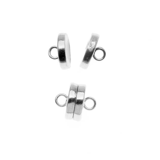 The Beadsmith Magnetic Clasp, Flat Round 8mm, 2 Sets, Silver Plated