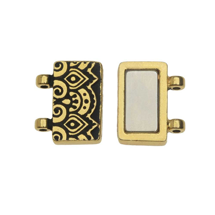 Magnetic Clasp, Temple 2-Strand Rectangle 16.5mm, Antiqued Gold, 1 Set, By TierraCast
