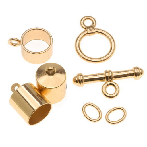 The Beadsmith Barrel Findings Variety Pack, For Kumihimo, Fits 6mm Cord, 1 Pack, Gold Plated