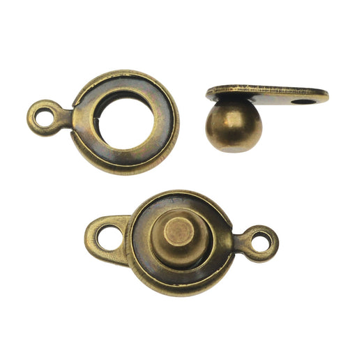 Ball and Socket Clasps, Round 12.5mm, 2 Sets, Antiqued Brass