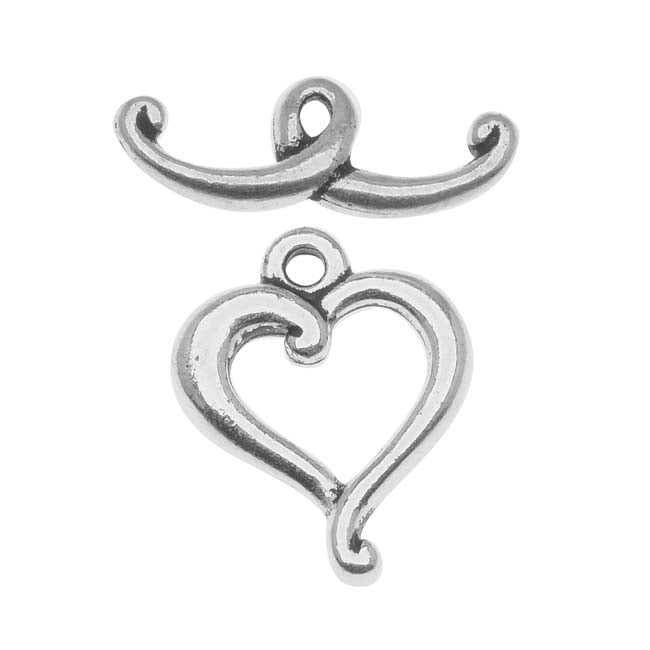 TierraCast Silver Plated Pewter Scroll Heart Toggle Clasp 14mm (1)