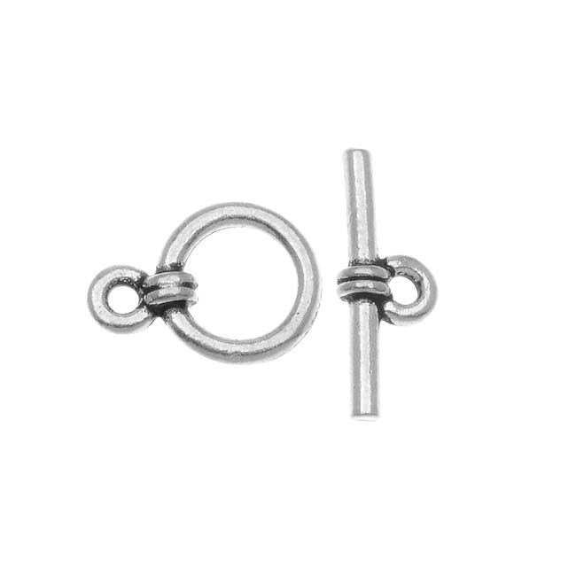 TierraCast Silver Plated Pewter Sleek Wrap Toggle Clasp 8.5mm
